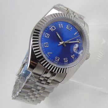 36mm data właśnie karbowana ramka MIYOTA 8215 niebieska tarcza automatyczny zegarek męski bransoletka jubileuszowa tanie i dobre opinie DREAMRUI 5Bar CN (pochodzenie) Zapięcie bransolety simple Mechaniczna nakręcana wskazówka Samoczynny naciąg 22cm STAINLESS STEEL