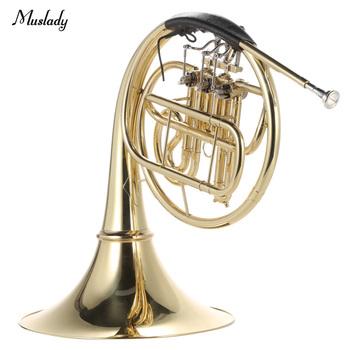 Muslady francuski róg B Bb płaskie 3 klucz mosiądz złoty lakier jednorzędowe Split Instrument dęty z Cupronickel ustnik przypadku tanie i dobre opinie French Horn B Bb Flat Other