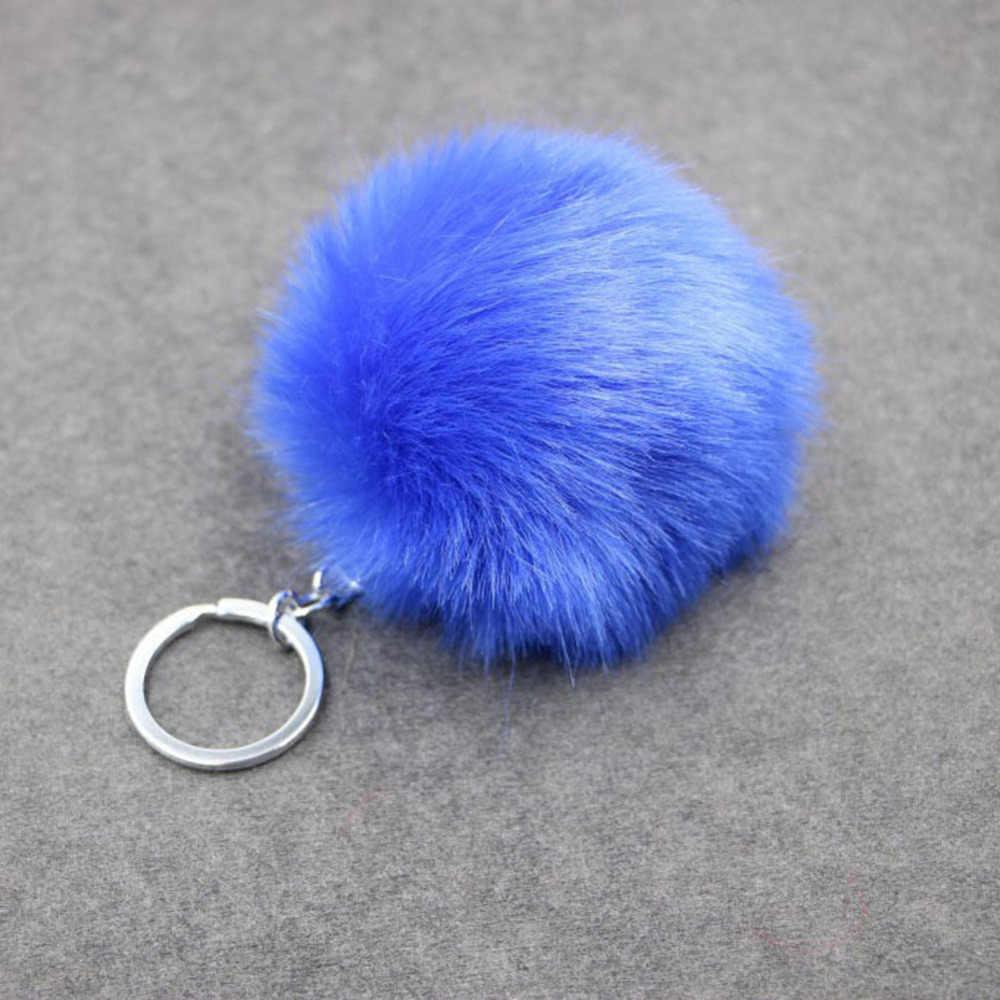Adorável Fluffy Faux Coelho Orelha Pele Bola Pompom de Pele de Coelho Artificial Keychain Chave Anéis Da Cadeia Pingente Bonito Mulheres Saco de Carro 17 cor