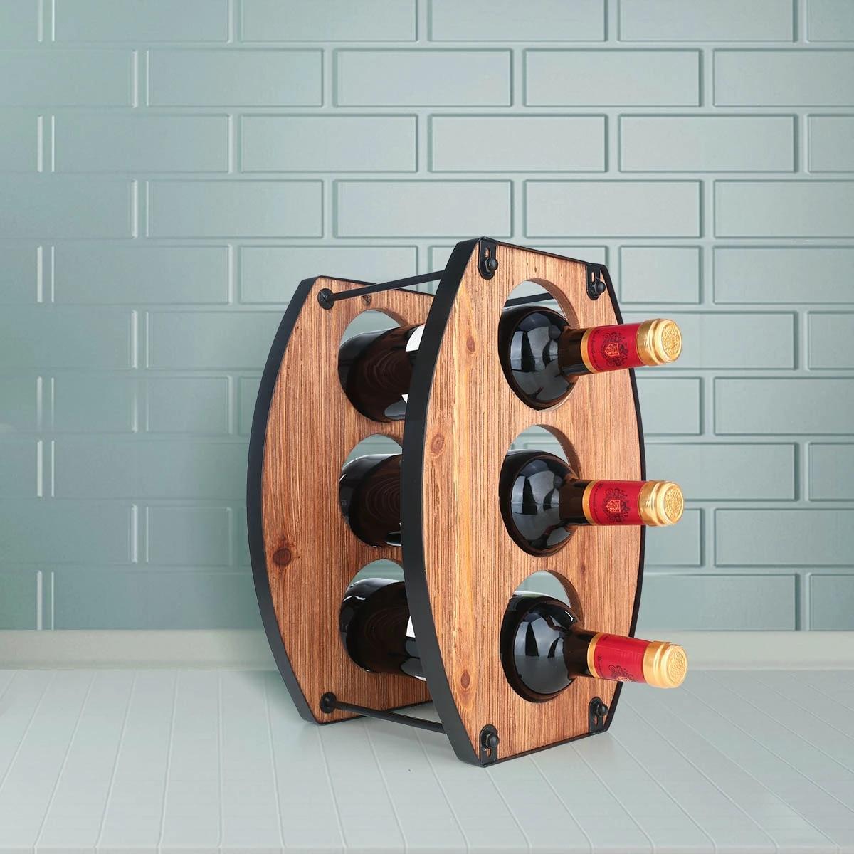 Vintage Brown Wood Folding Wine Rack  Bar Accessory  Home Decor