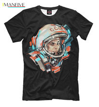 Fashion T-Shirts Summer Straight 100% Cotton USSR NEW T-shirt Soviet Space Program Gagarin Russia Cool Design HQ Print