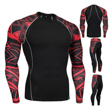 2pcs / set Men's Workout Sports Suit Gym Fitness Compression Clothes Running Jogging Sport Wear Exercise Workout Tights 3pcs set men s gym workout sports suit fitness compression clothes running jogging sport wear exercise workout tights