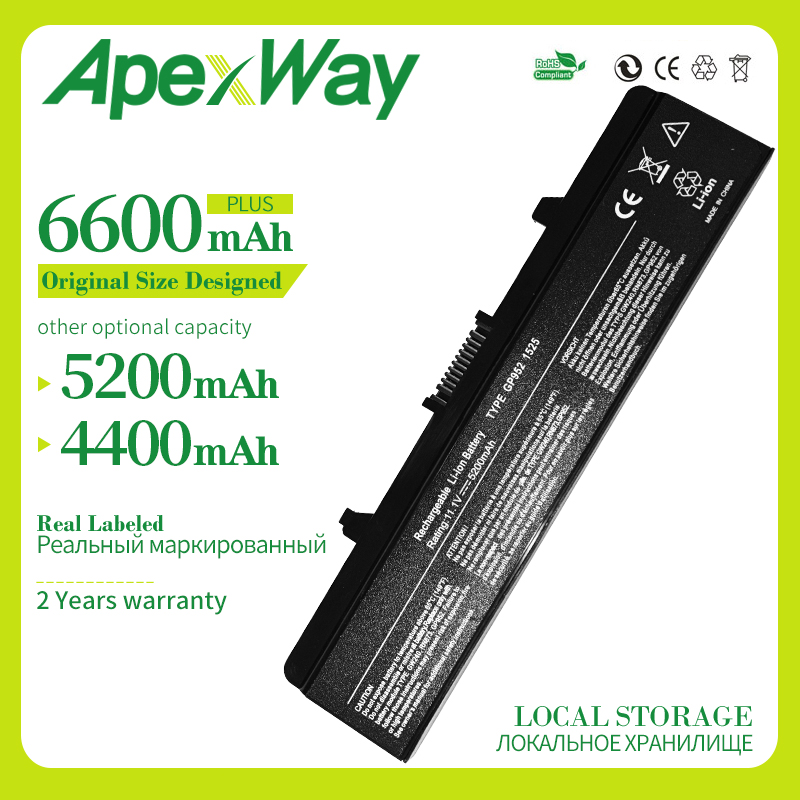 Apexway Laptop Battery For Dell GW240 297 M911G RN873 RU586 XR693 For Dell Inspiron 1525 1526 1545 Notebook Battery X284G