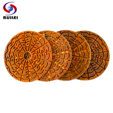 RIJILEI 4PCS 4inch Super Diamond polishing pads Copper metal bond wet polishing pad for granite marble stone Grinding Disc