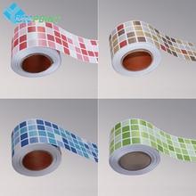 PVC Creative Mosaic Self-Adhesive Wallpaper Border Decor Adesivo De Parede Wall Papers Bathroom Toilet Waterproof Tile Sticker