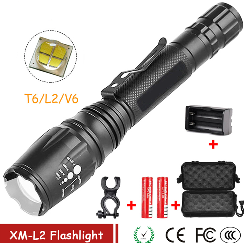T6/L2/V6 LED Flashlight Ultra Bright Rechargeable Torch Linterna Led Flashlight Adjustable For Camping Hiking Emergency