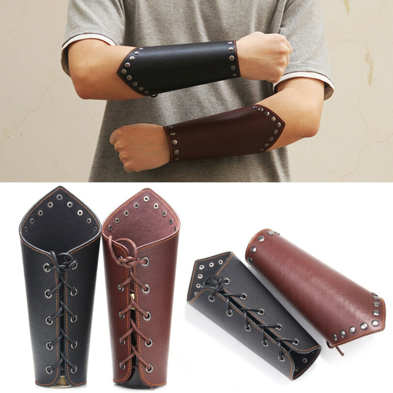 Steampunk Leather Gear Wristband Wide Arm Guard Armband Bracer Gauntlet