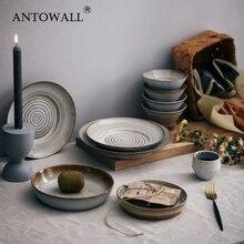ANTOWALL, vajilla japonesa hecha a mano, plato retro con personalidad creativa, plato de pasta para cena, plato de ensalada, gres vintage