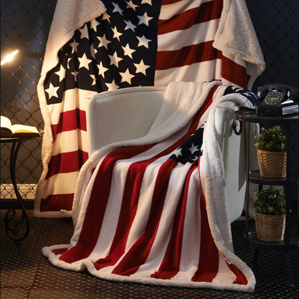 3D Digital Printing American Flag Sherpa Blanket Fleece Wearable Plush Throw Blanket On Bed Sofa Sherpa Thick Warm B1034