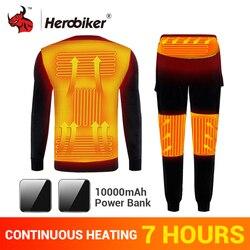 Комплект термобелья HEROBIKER с флисовой подкладкой для катания на мотоцикле, лыжах, с подогревом, с USB, футболки и штаны для зимы