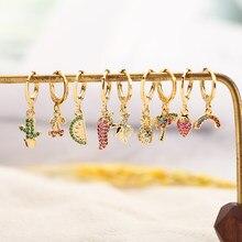 Spadek magiczne kolczyki dla kobiet złoty owoce dynda kolczyki 1 sztuk miedzi CZ koreański kolczyki moda Boho indyjska biżuteria 2020