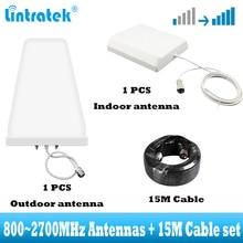 2 グラム 3 グラム 4 グラムアンテナ 15 メートルケーブルセット携帯信号ブースターアンプ用 CDMA GSM DCS WCDMA LTE ネットワーク信号リピータ