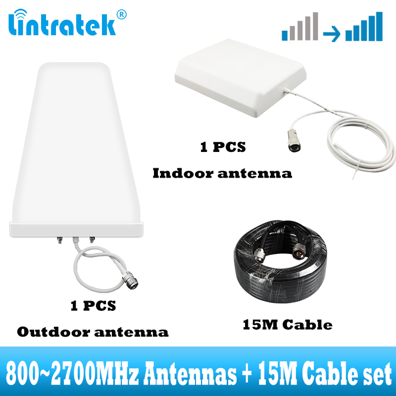 2G 3G 4G Antennas With 15m Cable Set For Cellular Signal Booster Amplifier For CDMA GSM DCS WCDMA LTE Network Signal Repeater