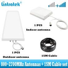 Antenas 2G 3G 4G con juego de Cable de 15m para amplificador de Amplificador de señal móvil para repetidor de señal de red GSM DCS WCDMA LTE