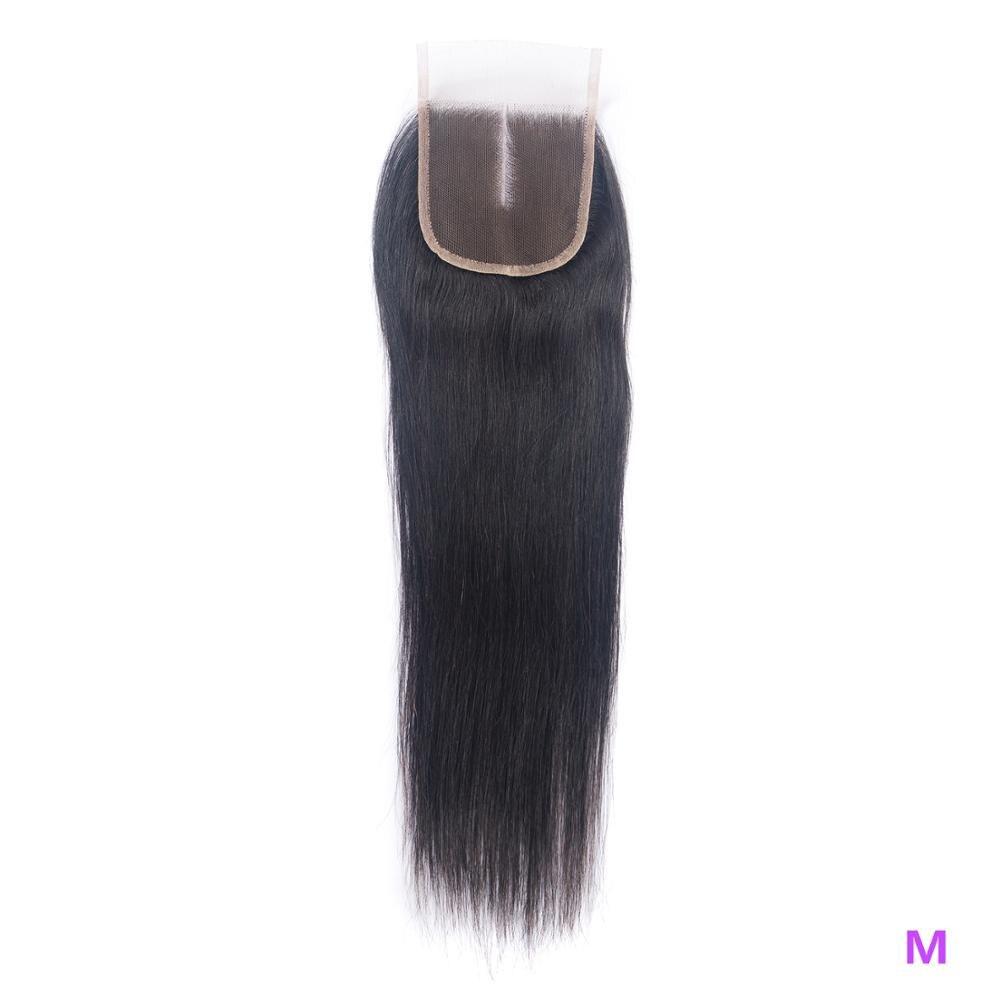 OYM HAIR Brazilian Straight Hair Closure 8-20 Inch Non-Remy Human Hair Middle Ratio 4x4 Medium Brown Swiss Lace Closure
