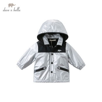 DB14859 dave bella autumn baby boys handsome patchwork pockets hooded zipper coat children tops fashion infant toddler outerwear image