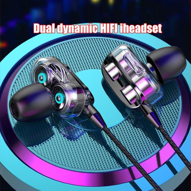 Sports Dual Drivers 4 Units Heavy Bass HiFi 3.5mm In-Ear Wired Stereo Earphones For Xiaomi Huawei Samsung Universal Headphones 1