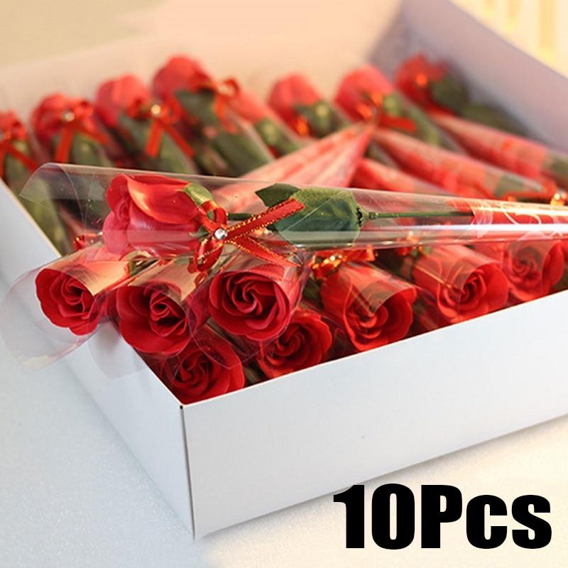 >10Pcs Soap Rose Floral <font><b>Decor</b></font> Artificial Flower <font><b>Gift</b></font> Valentine's Day Mother's Day Ornament Restaurant Prop Beautiful Decorating