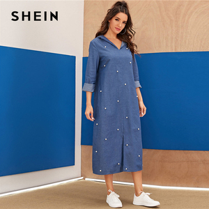 Image 5 - שיין כחול העבאיה פניני חרוזים פיצול Hem ינס הסווטשרט שמלת נשים סתיו ארוך שרוול מוצק Loose מקרית ארוך שמלות