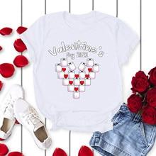 Shirt Blouses Goth Clothing Tops Short-Sleeve Streetwear Loose Harajuku Valentine's-Day-Printed