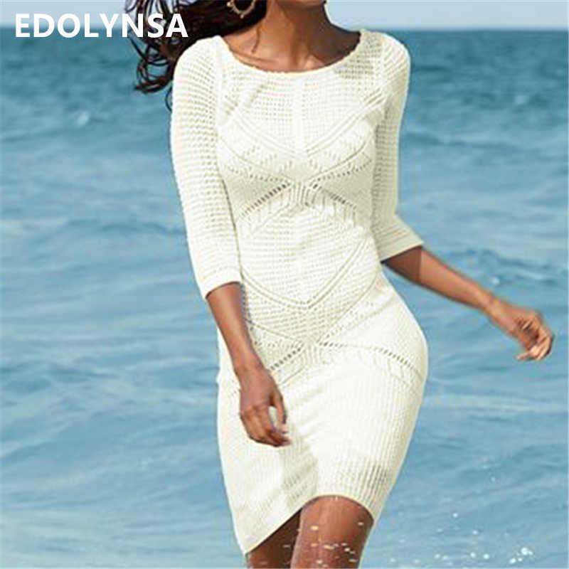 2020 malha babados maiô cover ups crochê beachwear túnica praia biquíni cobrir vestido de praia robe plage pareo # q465