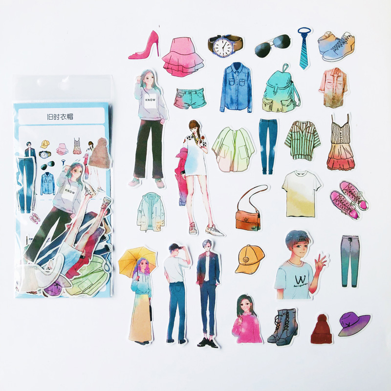 60 pcs /Pack Fashion Models Dress Matching  Decor Stickers Album Hand Account Decoration