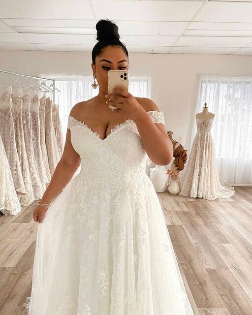 Wedding Dress Plus Size A-Line Off The Shoulder Lace Applique Tulle Backless Robe De Mariée Orienta Sweep Train Gown Custom Made 4