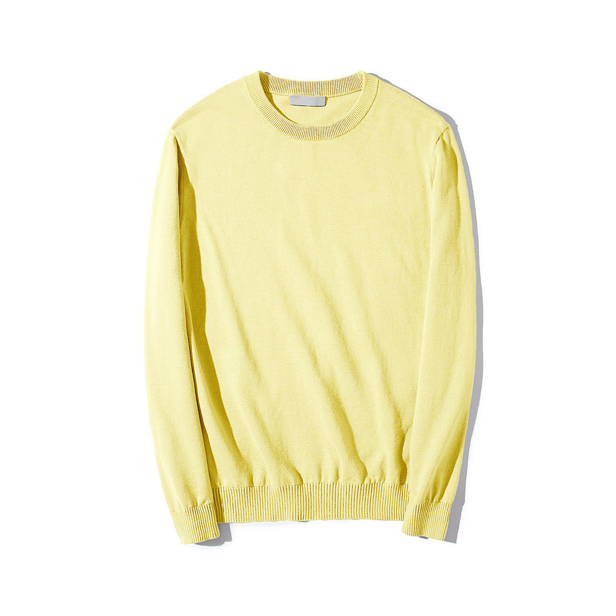 Yellow Sweater Pullover Knitwear Oversized Long-Sleeve Male Men Autumn Fashion Thin-Light