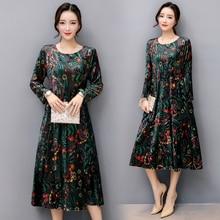 CHUNLI S-XXL vrouwen jurk 2019 Autumn nieuwe Corduroy hoge kwaliteit Vintage print vestidos