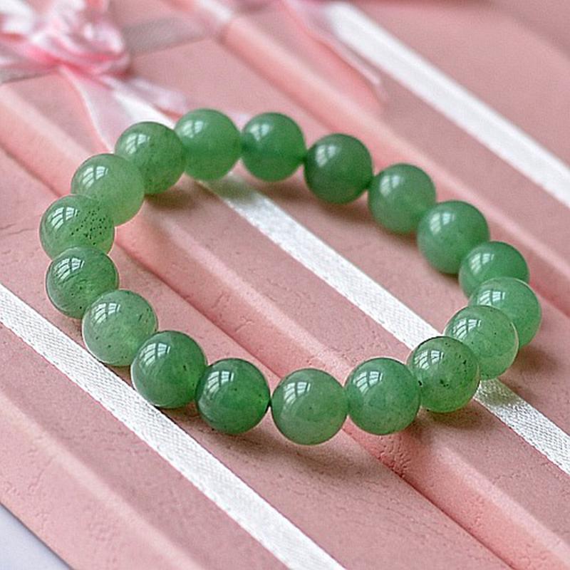 MOROW 100% Natural Green Aventurine Round Bead Stone Bracelet Jewelry Simple Women`s Men Bracelets Fashion Classic Accessory New (3)