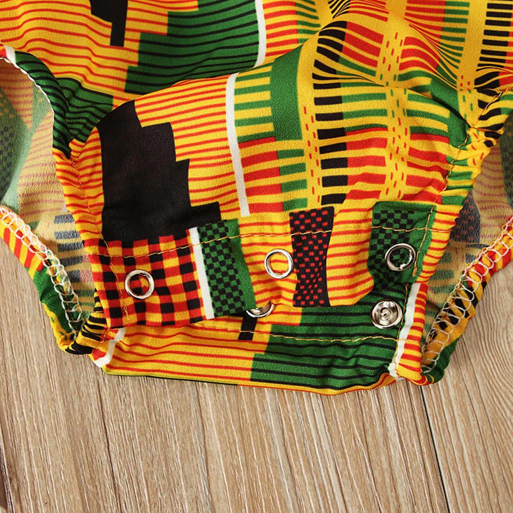Kombinezon w kwiaty maluch dziewczynek afryki druku z długim rękawem Romper opaska do włosów ubrania dla dzieci kostium dziewczyny stroje butikowe 2019