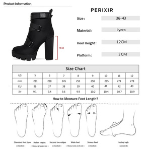 Image 5 - Perixir High Heel 4 CM Platform Height Ankle Women Sexy Boots Pointed Toe 15 CM Chunky  Heels Shoe Boot Ladies Shoes Big Size 43