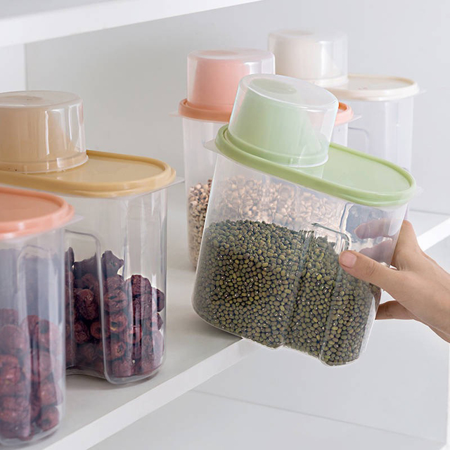 PP Food Storage Box Plastic Clear Container Set with Pour Lids Kitchen Storage Bottles Jars Dried Grains Tank 1.9L-2.5L H1211