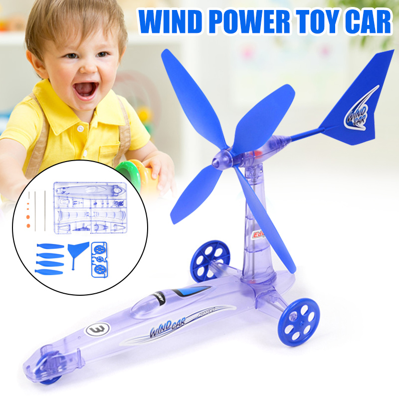 DIY Winds Power Toy Car Assembly Science Experimental Educational Toys For Kids YH-17