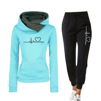 Casual Two Piece Outfits Pullovers Hoodies and Elastic Waist Jogger Pants Spring Autumn Tracksuit Woman Suit Female Sets 2020 image