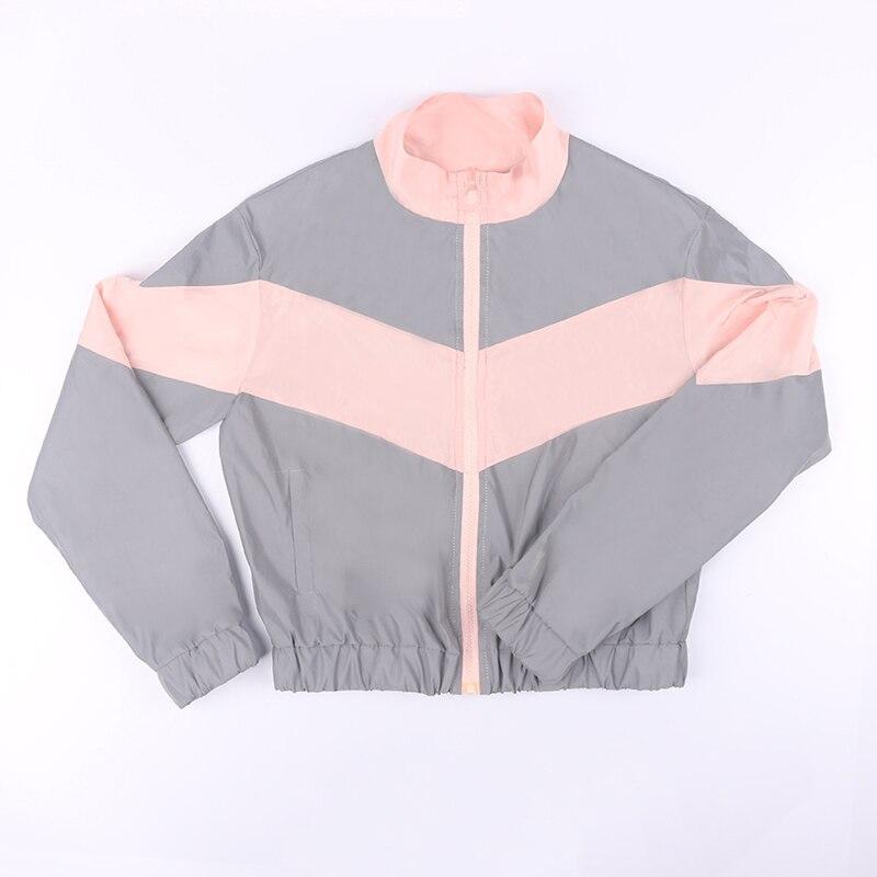 Jaqueta larga refletiva feminina, casual, gola virada, calça longa, moda outono 2019