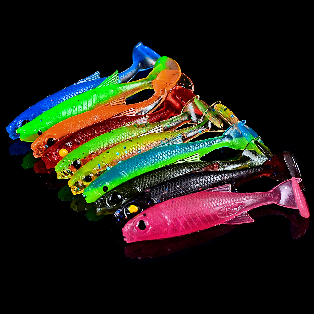 10pcs/lot Artificial Fishing Lure Soft Lure 2.5g/7cm Shad Carp Baits Swimbait Jig Head Fishing Silicone Rubber