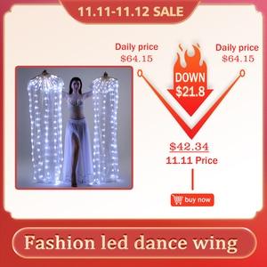 Image 1 - Nuova Danza Del Ventre di Seta Fan Velo LED Ventole Light up Shiny Pieghe Carnevale LED Ventole Oggetti di Scena Accessori di Prestazione Della Fase Costume