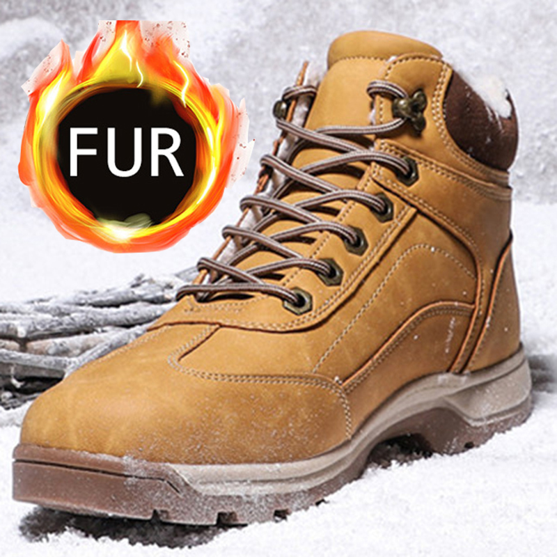 UPUPER Men Boots Winter Shoes Outdoor Waterproof High Top Hiking Shoes 2019 Comfort Warm Sneakers Men Military Tactical Boots