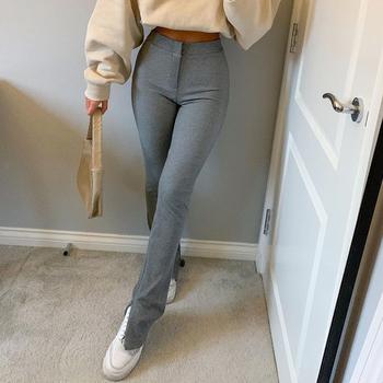 Streetwear jednolite spodnie dresowe dresowe damskie spodnie sportowe 2020 wysokiej talii boczne rozcięcie moda długa obcisła spodnie Y2k Capris tanie i dobre opinie Rapwriter COTTON spandex Pełnej długości CN (pochodzenie) Wiosna jesień RAPP8619W0J Stałe Na co dzień Ołówek spodnie