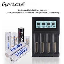 פאלו 4 חריצים LCD תצוגת 18650 סוללה מטען עבור 18650 14500 18500 16350 סוללה 3.7V סדרת ליתיום יון טעינה