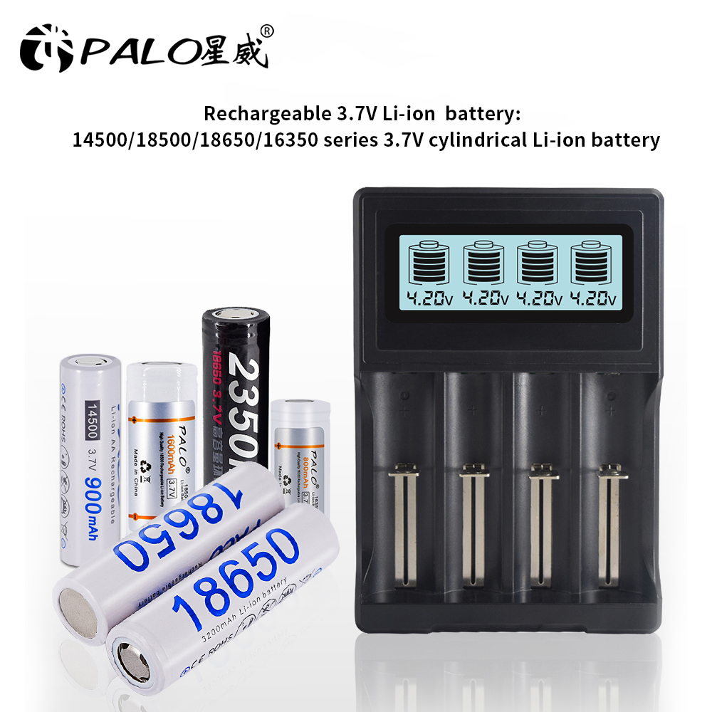 PALO 4 slots LCD Display 18650 battery Charger for 18650 14500 18500 16350 battery 3.7V series lithium ion battery charging|Chargers| |  - title=
