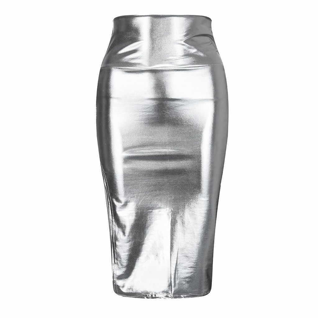Bạc Nữ Váy Thời Trang Chắc Chắn Ôm Highwaist Đẩy Lên Hông Sáng Da Dĩa Váy Dạ Hội Shortskirts Кожаная Юбка #20