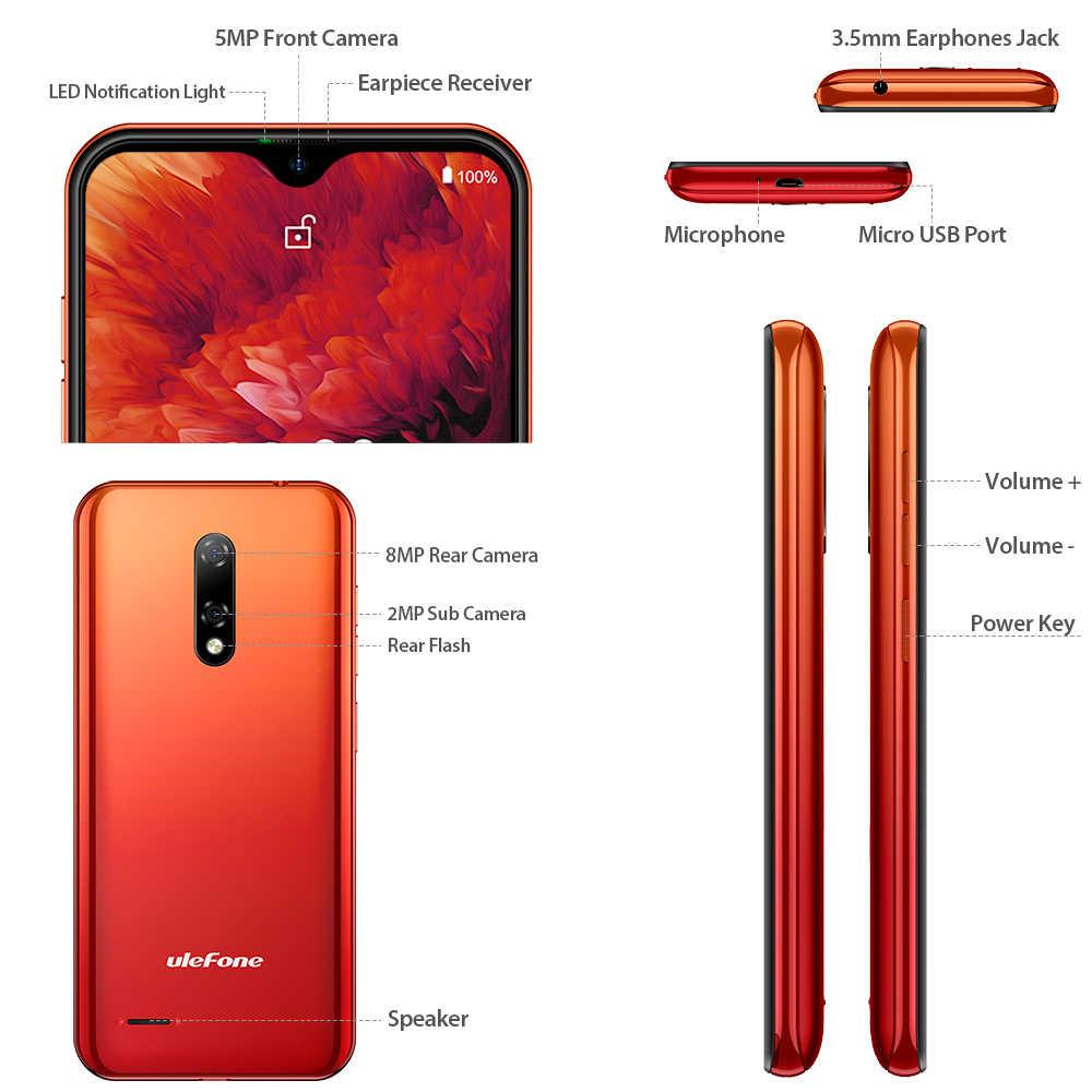 הערה Ulefone 8P Smartphone אנדרואיד 10 4G Celular טלפון ואטארדרוף מסך Quad Core 2GB + 16GB 5.5-אינץ 8MP מצלמה