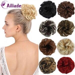 Женский вьющийся пончик-шиньон AILIADE, волнистые резинки из синтетических волос, резинка для конского хвоста