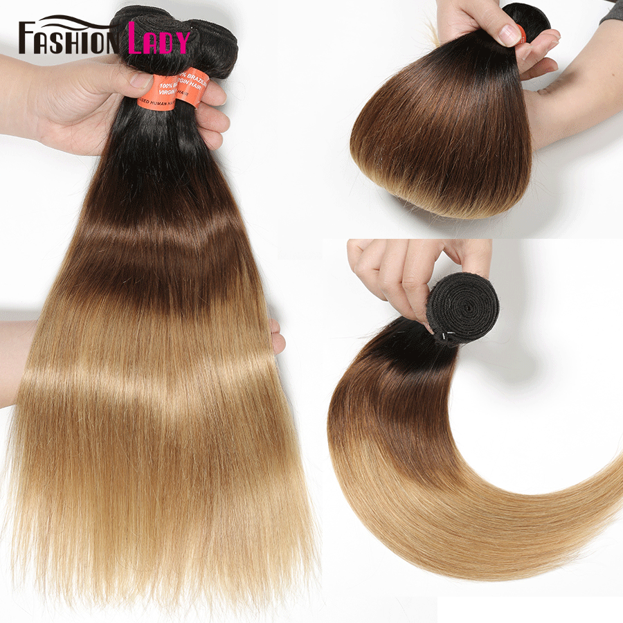 FASHION LADY Pre-Colored Brazilian Hair Weave Bundles Ombre 1b/4/27 Straight Bundles Human Hair 1/3/4 Bundle Per Pack Non-Remy