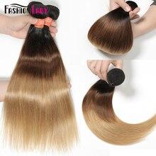 FASHION LADY Pre Colored Brazilian Hair Weave Bundles Ombre 1b/4/27 Straight Bundles Human Hair 1/3/4 Bundle Per Pack Non Remy