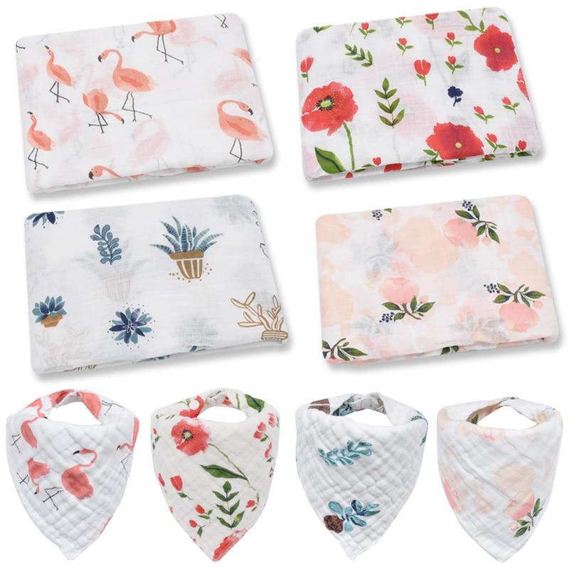 Swaddle+bib Setbaby Swaddle Muslin Blanket Wrap For Newborn Baby Multi-use Big Diaper Blanket Infant Wrap Bedding Bath Towel