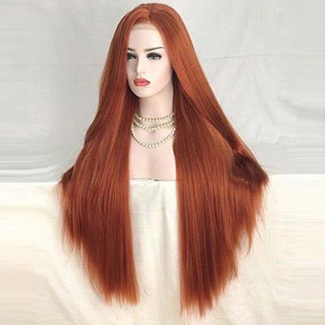 Charyzma wysokiej temperatury włosów miedzi czerwony syntetyczna koronka peruka front 26 cali proste włosy peruki syntetyczne środkowa część peruka
