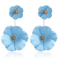 Крупные ювелирные изделия GTQ, большие акриловые серьги в виде цветка, синие и розовые серьги, новый дизайн, модные украшения, серьги для женщ...